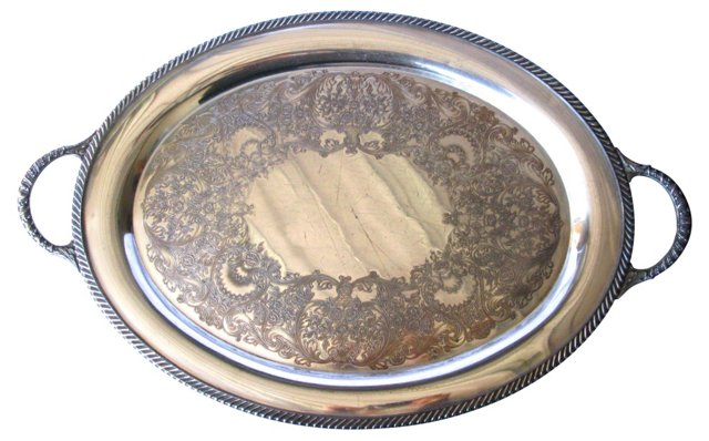 Heavy Filigree Silverplate Serving Tray