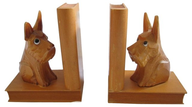 1950s Carved Scottie Dog Bookends