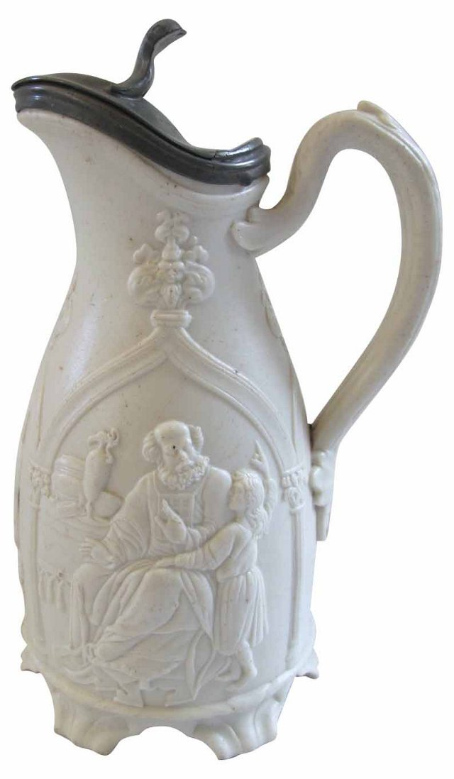 Staffordshire Salt Glazed Pewter Lid Jug