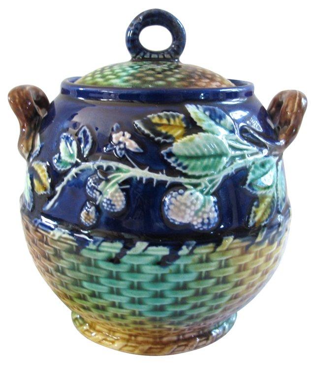 Antique Majolica Sugar Jar