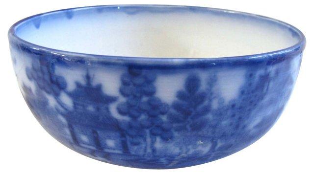 Antique Flow Blue Minton's Willow Bowl