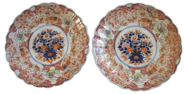 19th-C. Japanese Porcelain Chargers,Pair