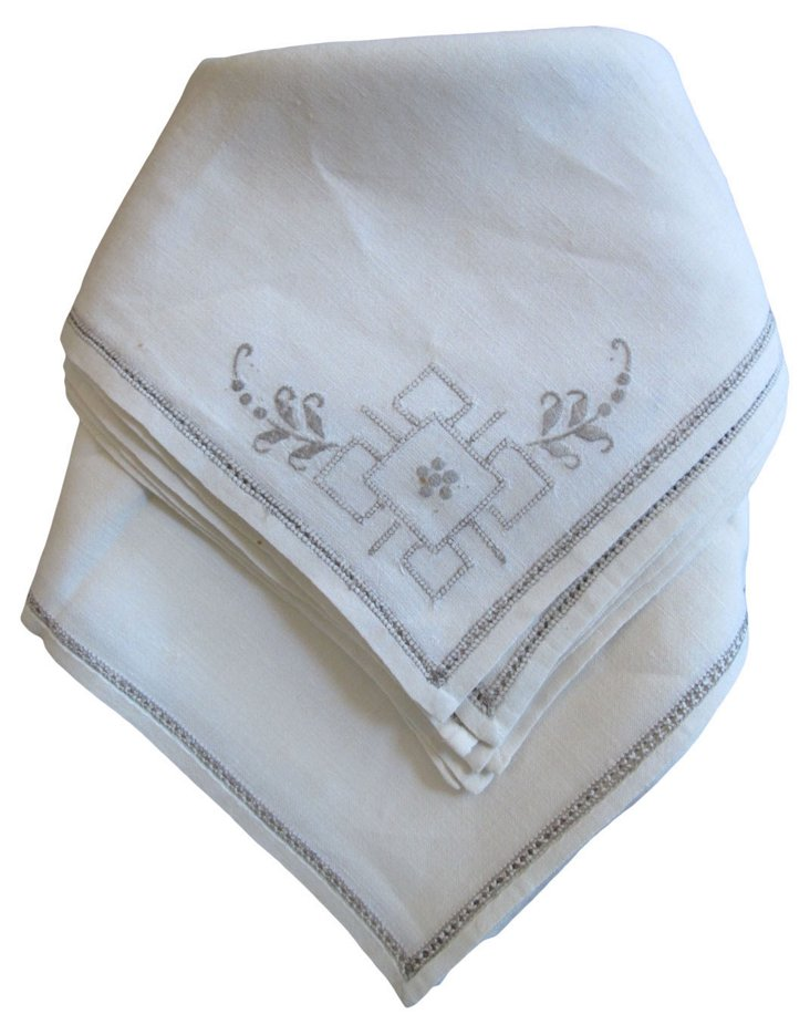 Art Deco Linen Embroidered Napkins, S/8
