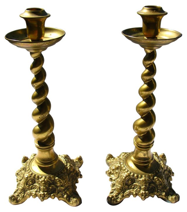 Heavy Brass Twist Candleholders, Pair