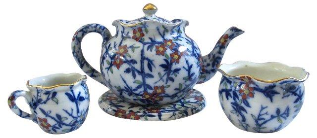 Antique Flow Blue Tea Set, 4 Pcs