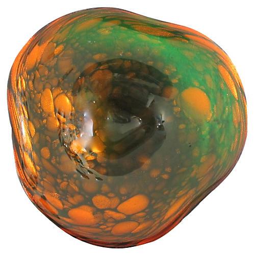 Copper & Emerald Murano Glass Bowl