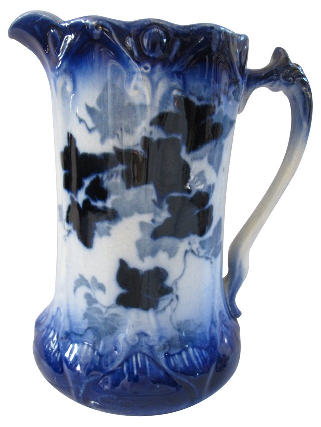 Antique   Flow    Blue    Ivy Jug