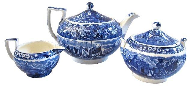 Flow Blue Wedgwood Tea Service, 3 Pcs
