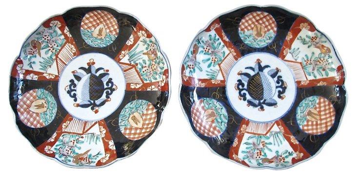 Antique  Japanese Porcelain Plates, Pair