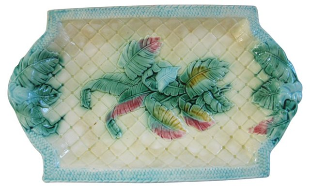 Antique Majolica Ice Cream Serving Dish