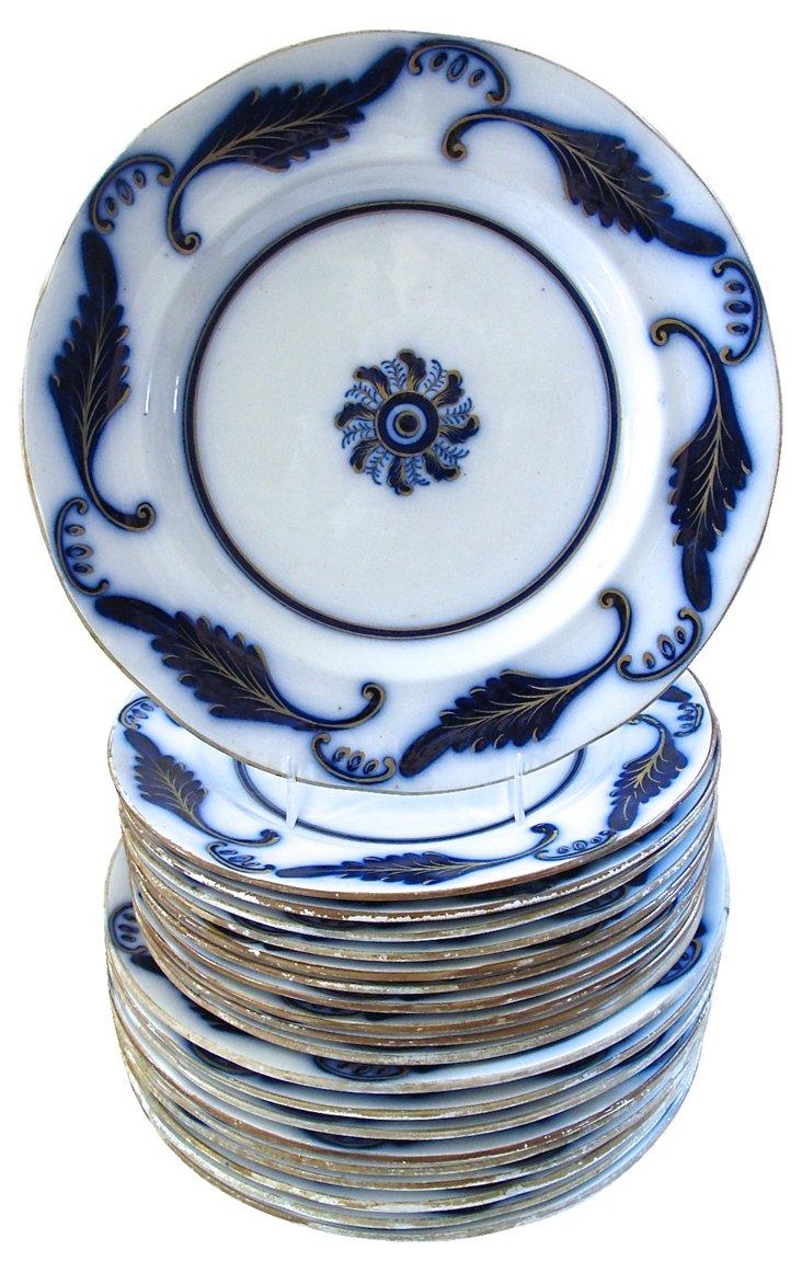 Flow Blue Plates, C. 1840, S/20