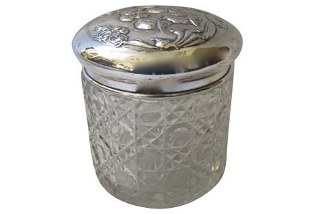 Sterling & Cut-Crystal Cherub Box, 1909
