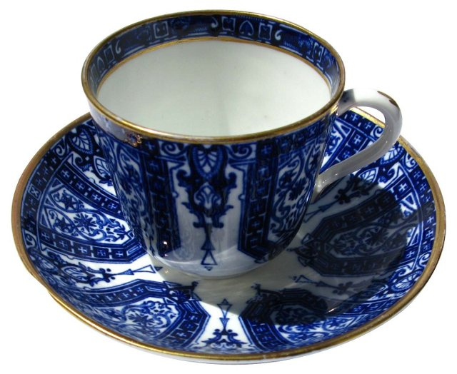 Antique Flow Blue Tea Cup & Saucer