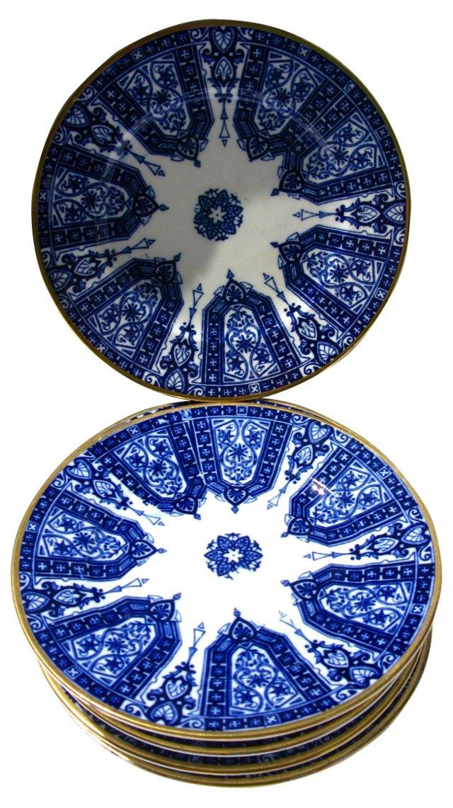 Antique Flow Blue Snack Plates, S/8