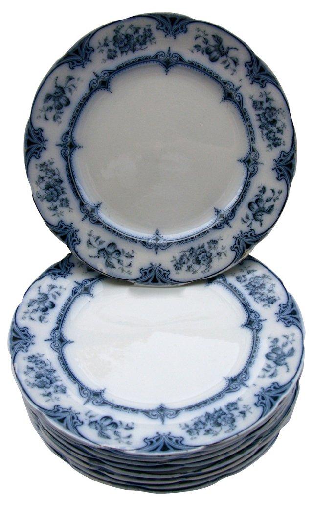 Flow Blue Floral Dinner Plates, S/10