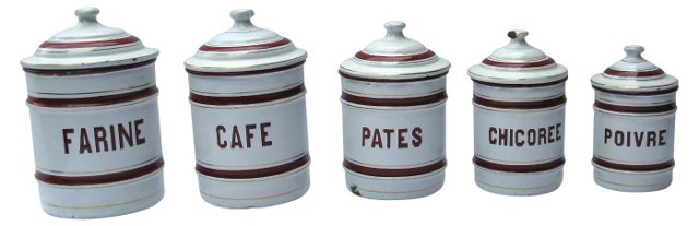 French Enamel Kitchen Canisters,  S/5