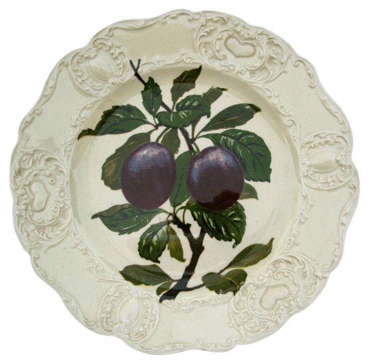 Antique Staffordshire Plum Wall Plate