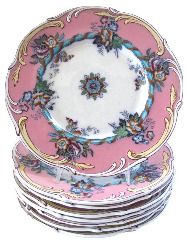 Antique Flow Blue Plates, S/8, C. 1840