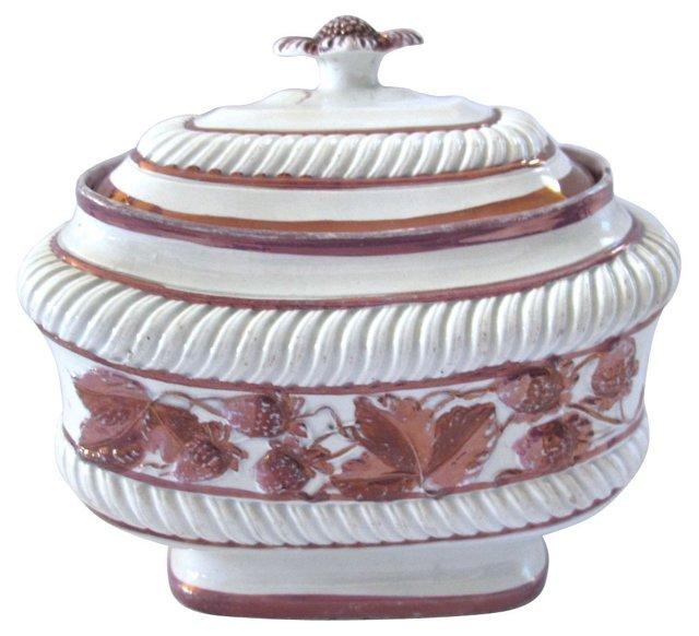 Strawberry Luster Sugar Bowl, C. 1830