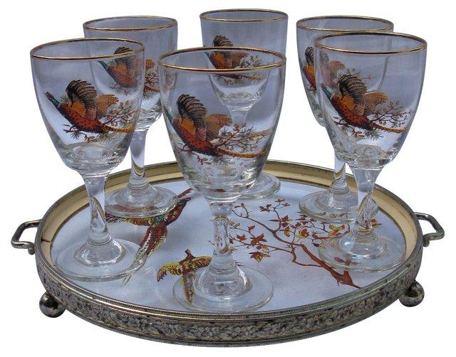 Pheasant Cocktail Set, 7 Pcs