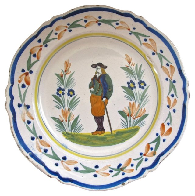 Early Quimper Faience Wall Plate