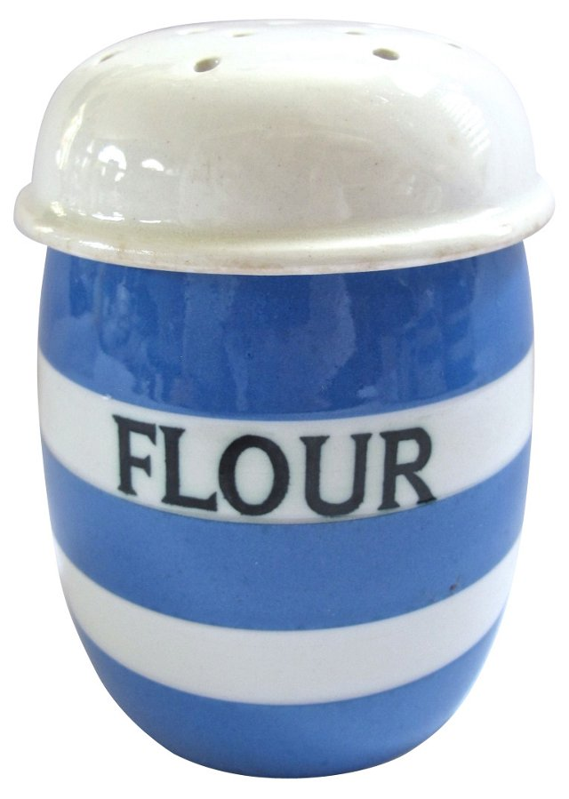 English  Cornishware Flour Shaker