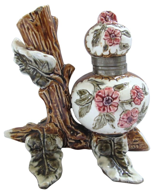 Majolica Floral Inkwell & Pen Stand