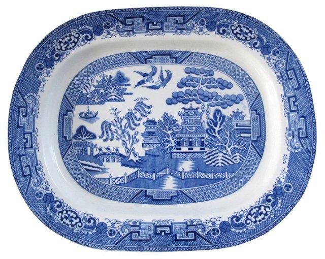 Antique Staffordshire Willow    Platter