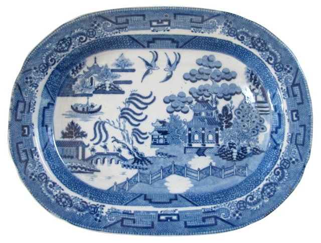 1820s English Willow Pearlware  Platter