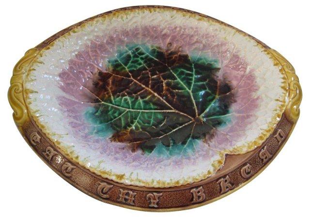 Antique Majolica Begonia Serving Plate