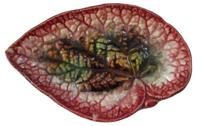 Antique   Majolica Leaf Dish