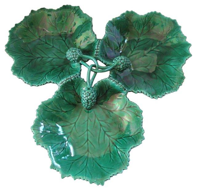 Antique Triple Majolica Leaf Platter