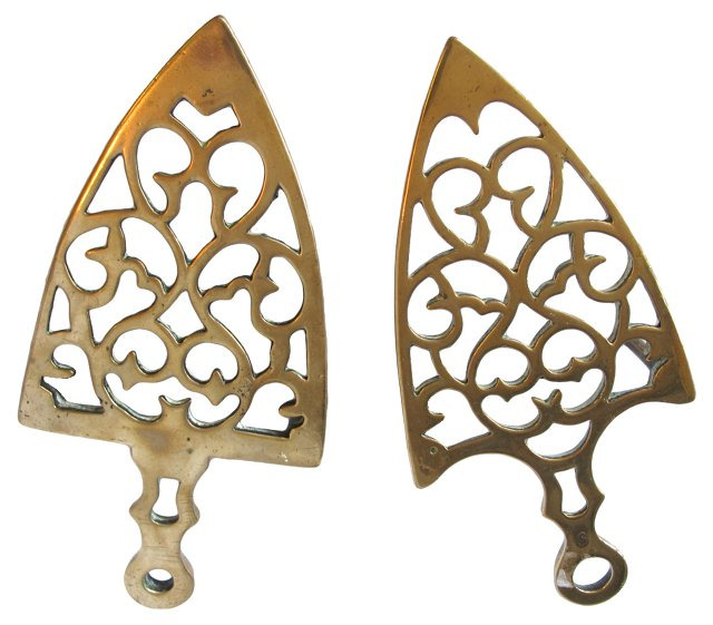 Antique English Brass Trivets, Pair