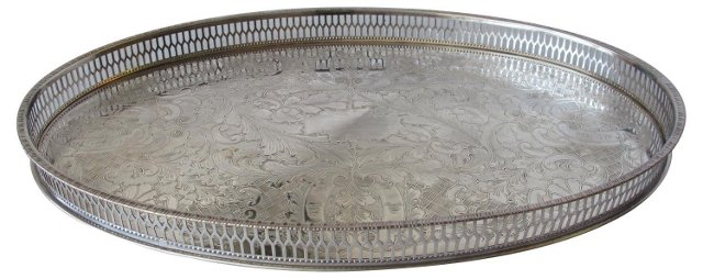Viners Silverplate Oval Gallery Tray