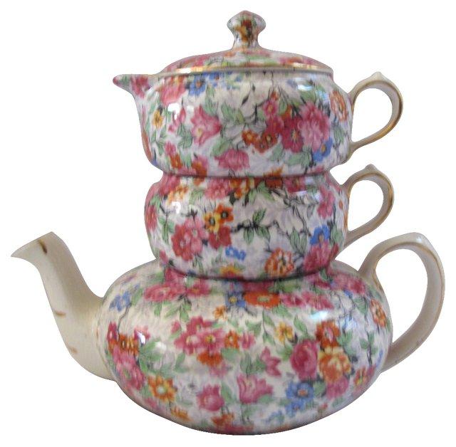 English Chintz Stacking  Tea Set, 3 Pcs