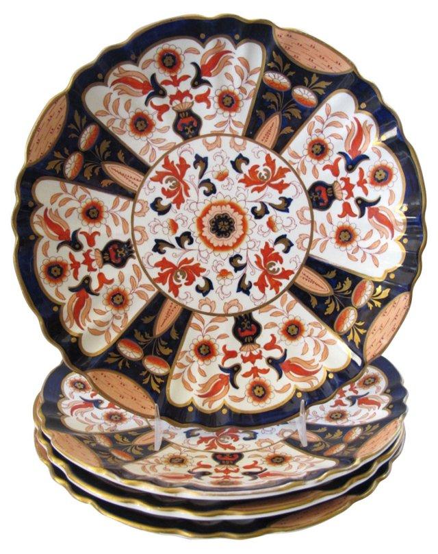 Antique Ashworth Porcelain Plates, S/4