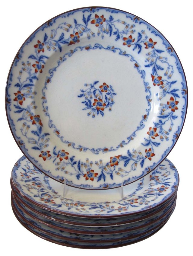 Mintons Flow Blue Plates, C. 1840, S/6