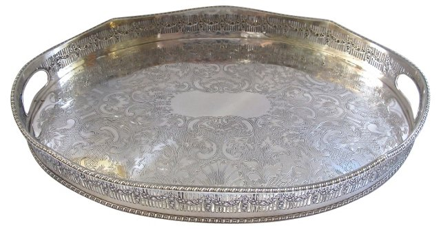 Scalloped-Edge Silverplate Gallery Tray