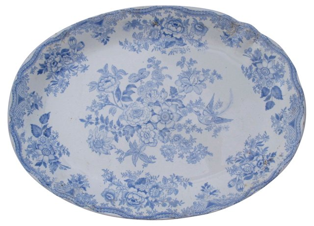 Antique Asiatic Pheasant Oval Platter