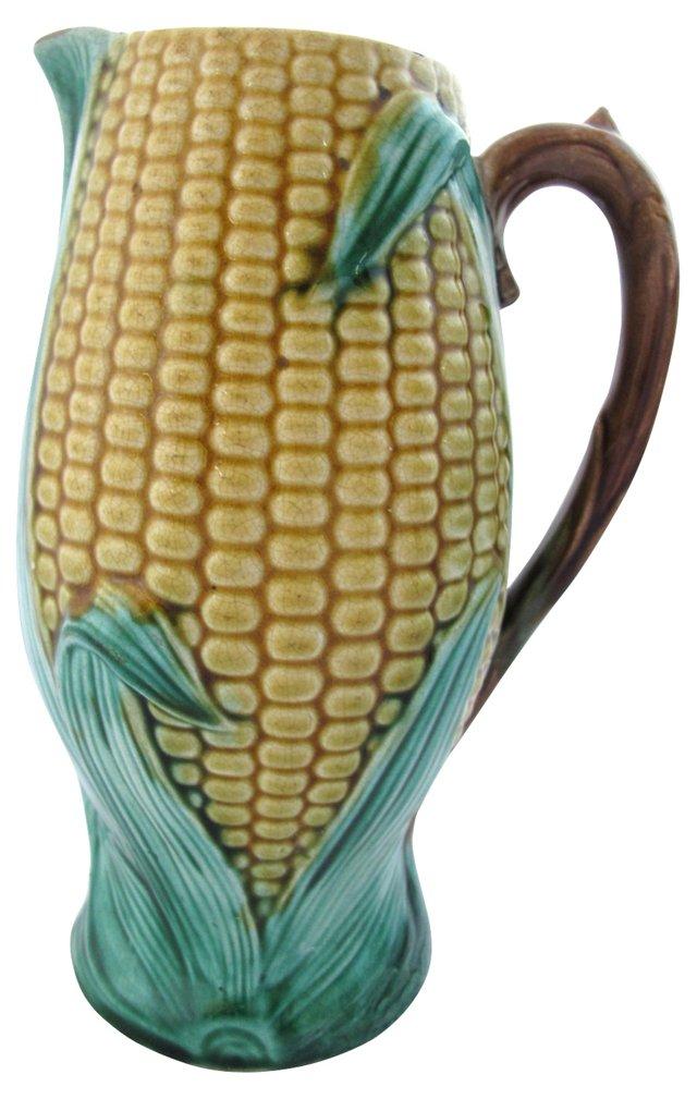Antique Majolica Quart-Size Corn Jug