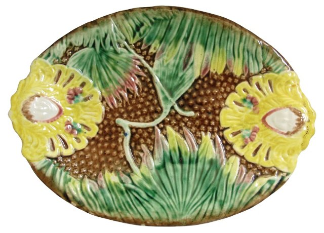 Antique Majolica Serving  Platter
