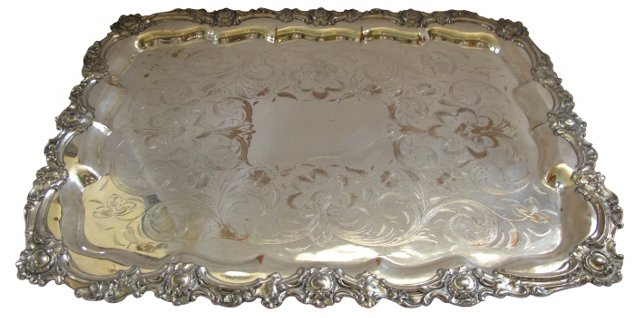 Antique Silverplate   Tray
