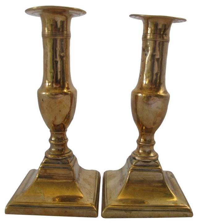 18th-C. Brass Candleholders, Pair