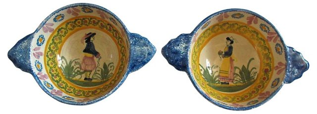 Quimper French Faience Bowls, S/2