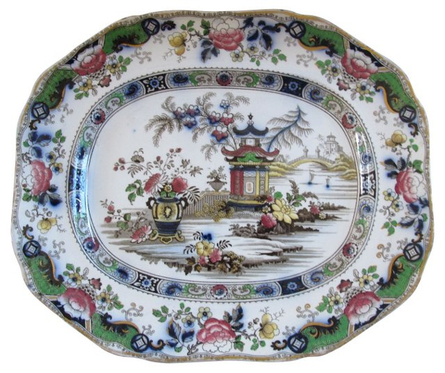 English Ironstone Platter, C. 1840