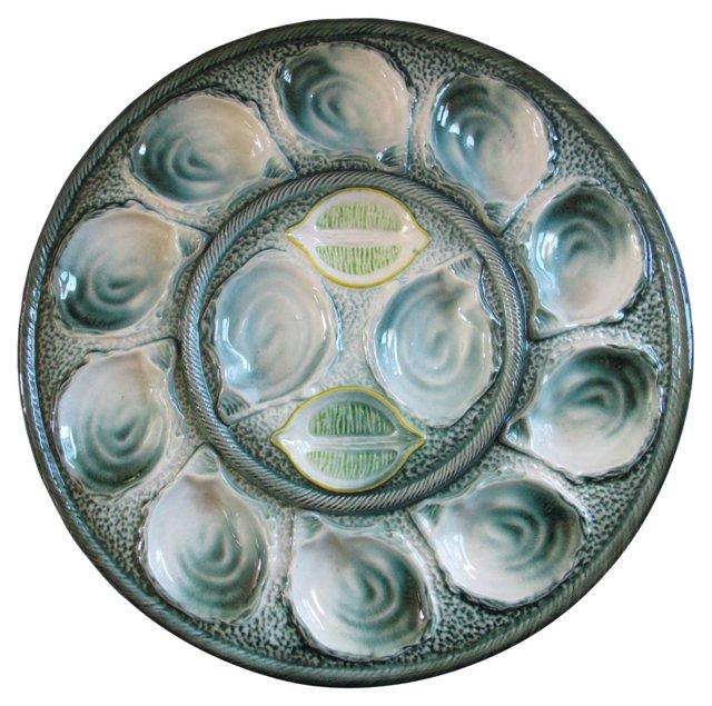 French Majolica Oyster Platter