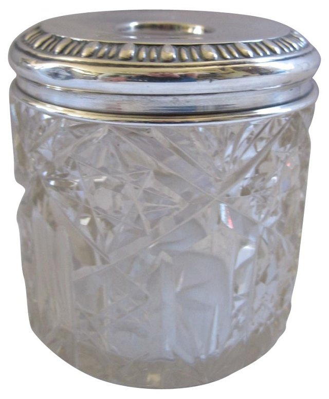 C. 1911 Sterling Silver & Crystal Jar