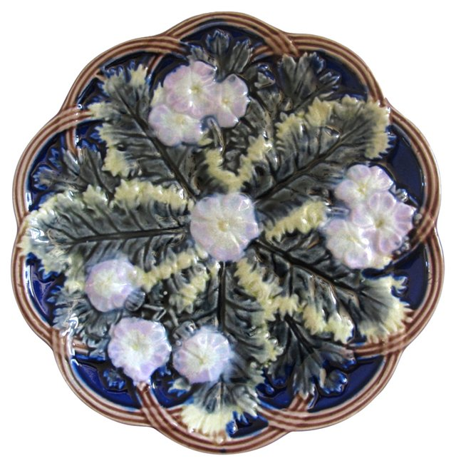 Antique Cobalt Blue Majolica Plate