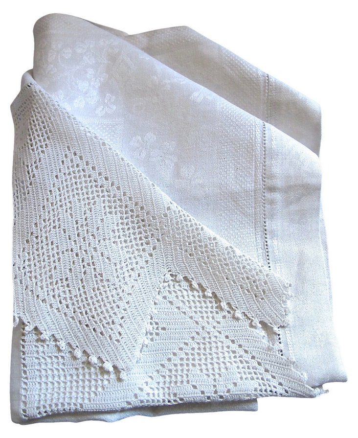 Antique English Handmade Dish Towel