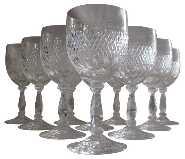 1920s Crystal Wine Glasses, S/10
